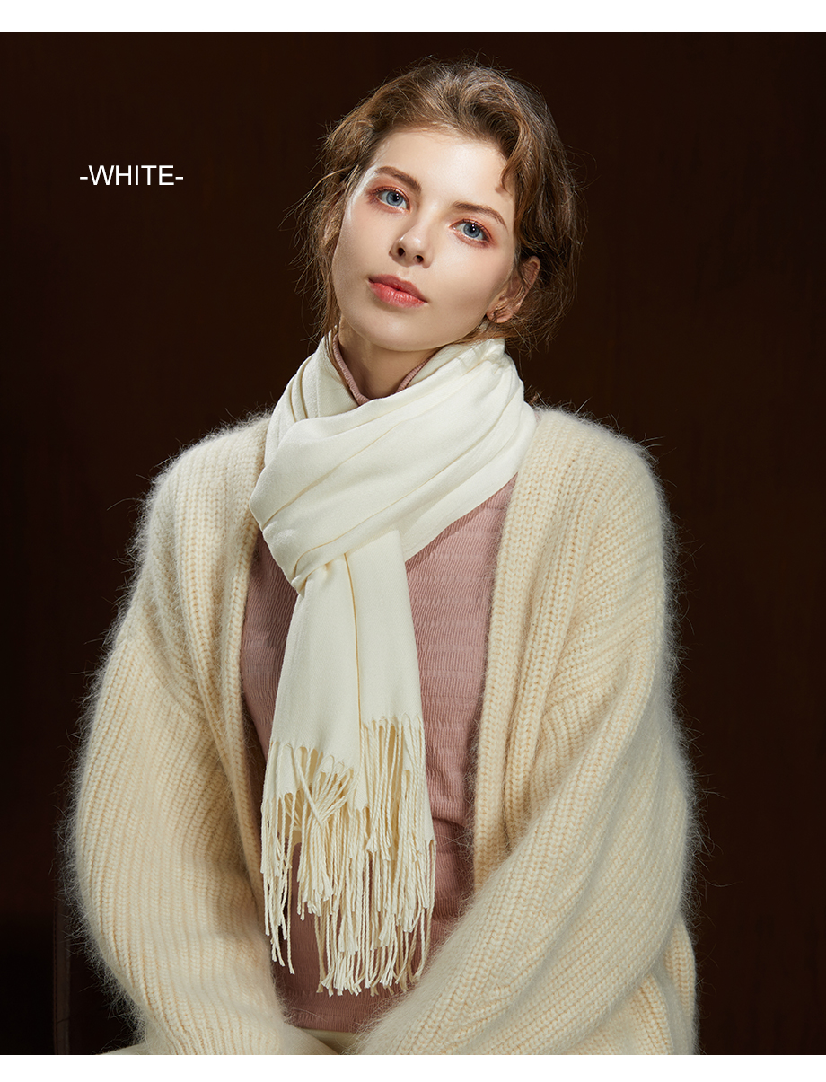 Winter Large Tassel Scarf 180cm65cm 23 Colors Wool Knitted Scarves 2019 Autumn 100% Cashmere Long Solid Scarf Women Warm Shawl (15)