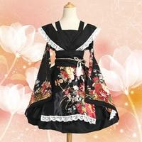 Anime Cosplay Lace Lolita Flower Print Halloween Fancy Dress Gallus Japanese Kimono Costume