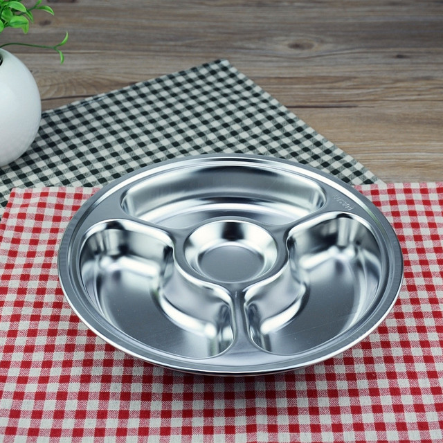 3/4/5/6 Sections Stainless Steel Divided Dinner Plate Dish Round Students & 3/4/5/6 Sections Stainless Steel Divided Dinner Plate Dish Round ...