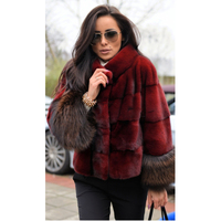 TOPFUR 2019 New Fashion Winter Female Short Coat Real Fur Coat For Women Natural Mink Fur Outerwear & Coats Red Basic Jackets