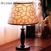 Modern minimalist wood desk lamp creative bedroom bedside lamp decorative cloth desk lamp free shipping