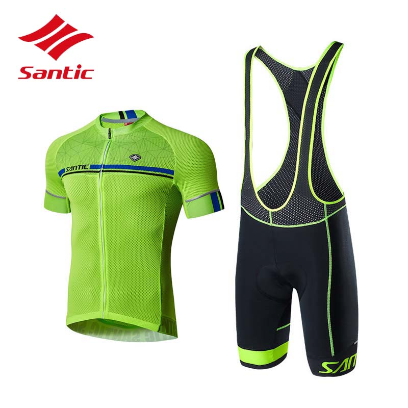 Santic Cycling Set Cycling Clothing Men Summer Pro Padded Breathable Triathlon Cycling Jersey Set Maillot Equipe De France 2018 santic black triathlon clothing men