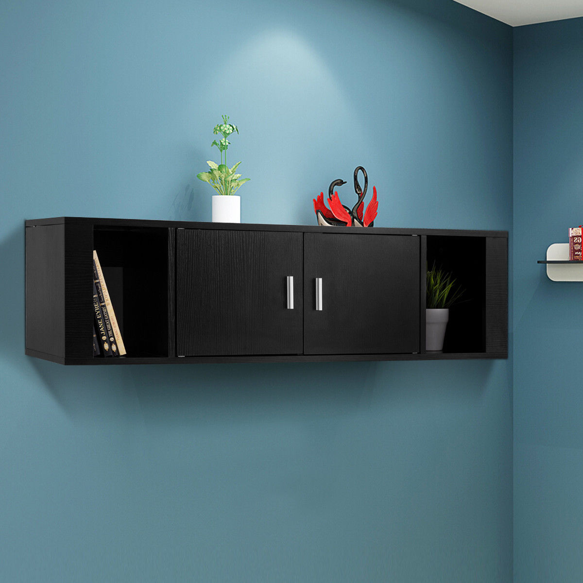 Incredible Giantex 2 Cube Wall Mounted Floating Hutch 2 Door Media Download Free Architecture Designs Rallybritishbridgeorg