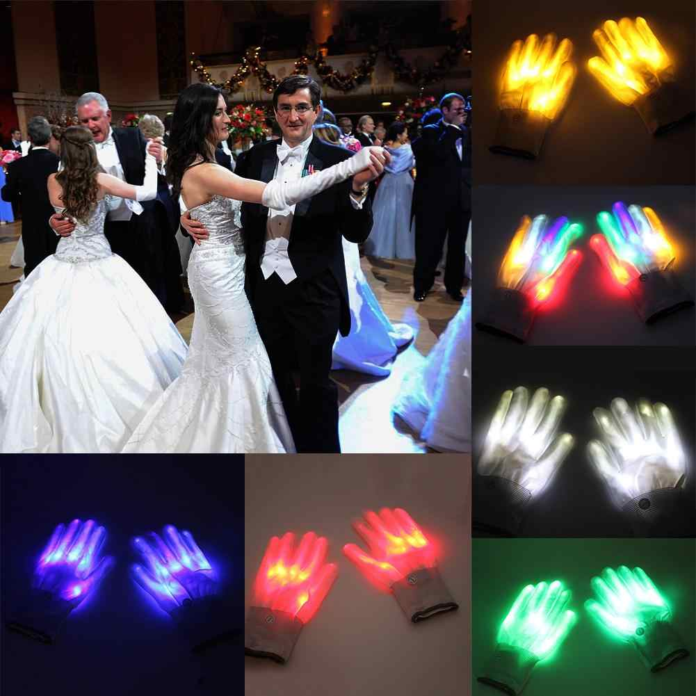 2 pcs/1 pair LED Gloves Color Changing Luminous Flashing Halloween Skeleton Gloves Stage Costume Christmas Party Event Supply