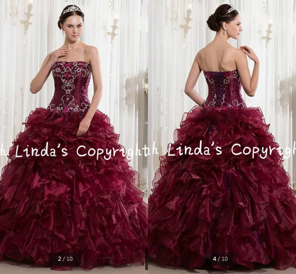 2016 new design ball gown burgundy beading ruffled   prom     dress   strapless sweetheart neck puffy long   prom   gowns hot sale