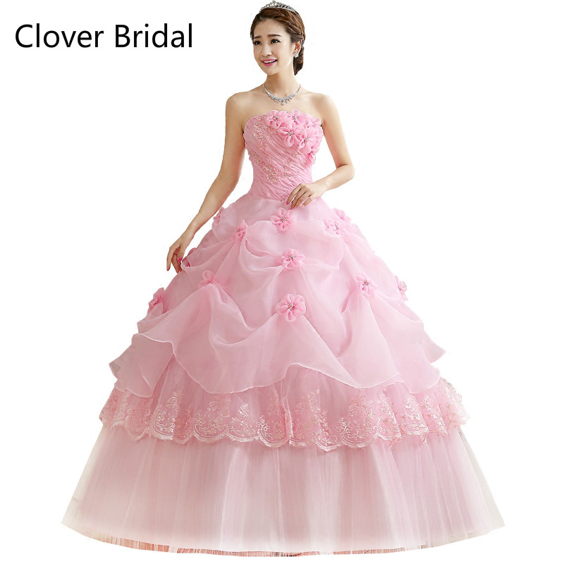 Quinceanera Dresses Cheap Organza Red Pink White Floor Length Cheap Quinceanera Gowns Sw ...