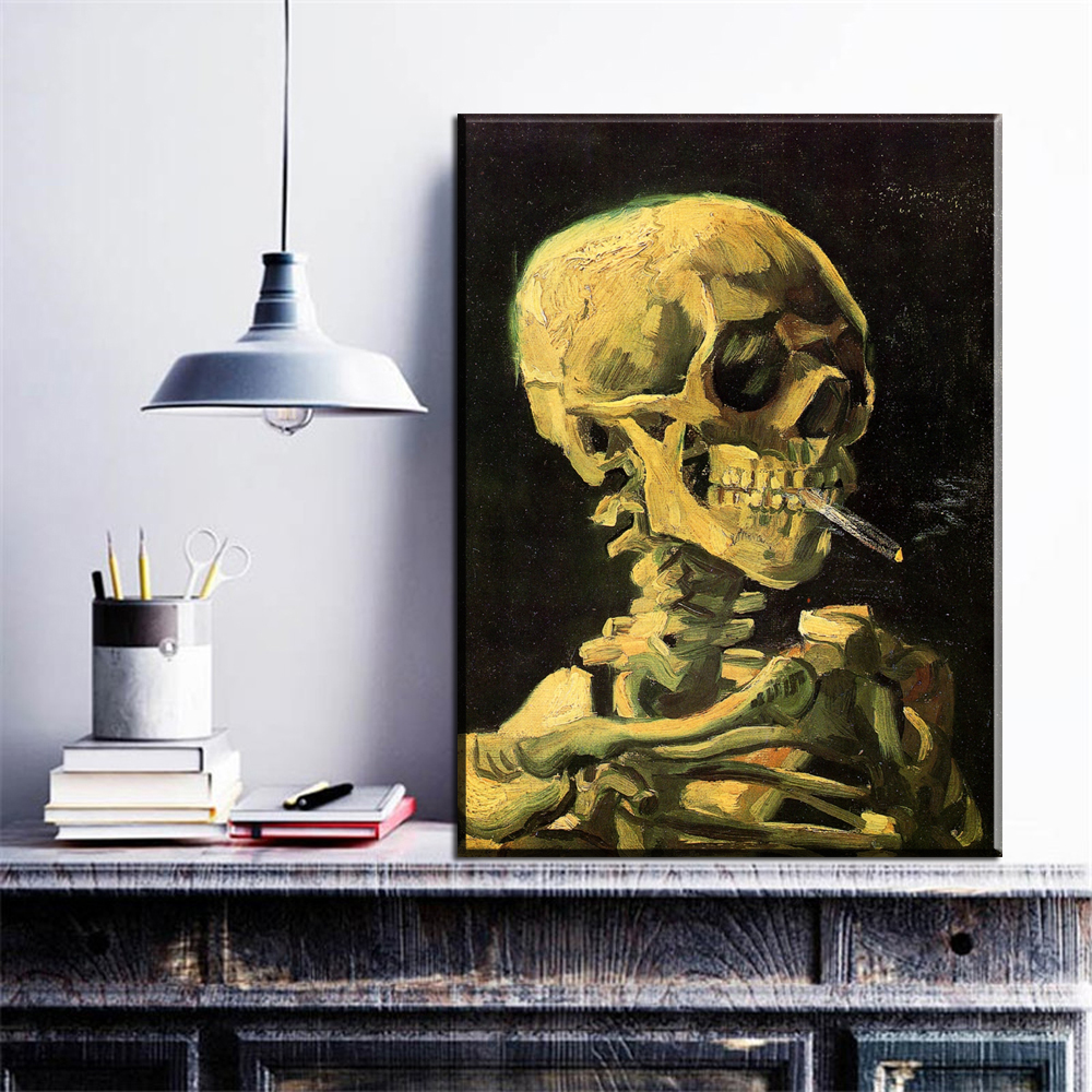 ZZ2072 illustration de Vincent Van Gogh CRÂNE AVEC la CIGARETTE BRÛLANTE à l'huile moderne art peintures Haute Qualité impressions sur toile art sans cadre