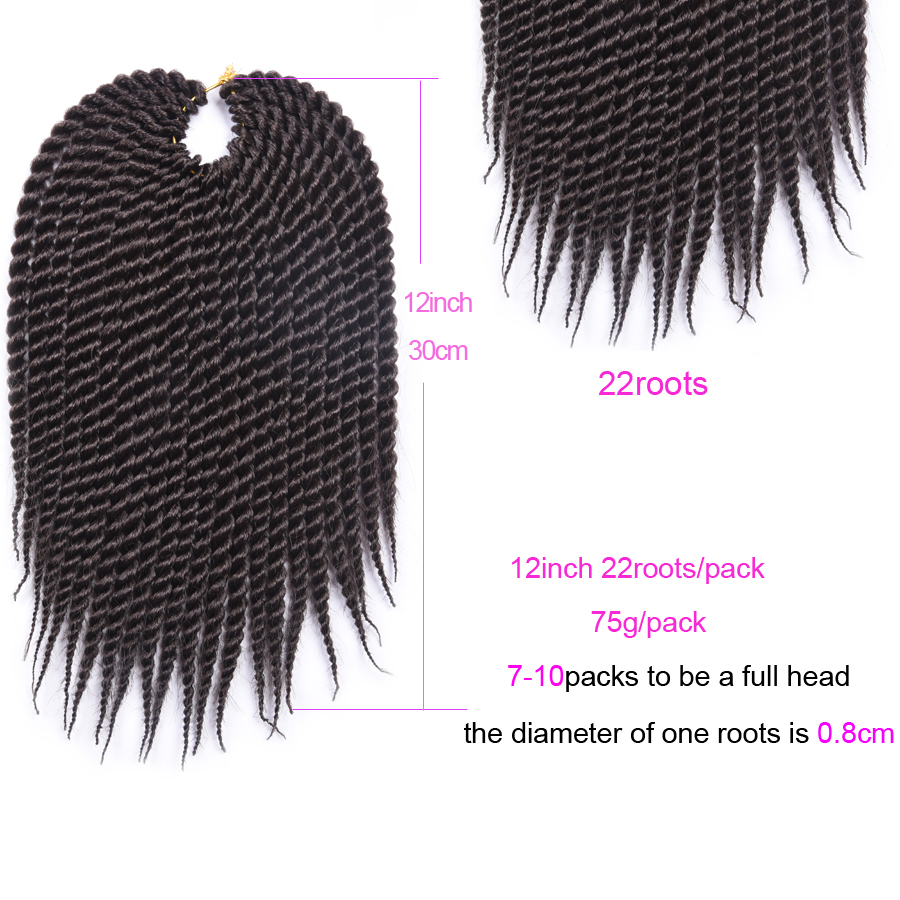 Refined hair 12 14 16 18 20 22Inch Crochet Braids Senegalese twist Crochet Braiding Hair Extensions kanekalon Crochet Braid Hair