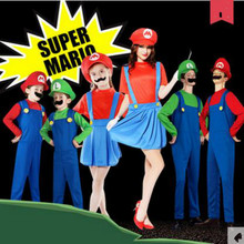 Adult Man kids Halloween Costumes Men child women Super Mario Luigi Brothers Plumber Costume Jumpsuit Fancy Cosplay Clothing new