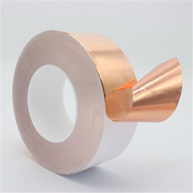 50MM X 30M Single Conductive Copper Foil Tape Copper Strip High Temperature Resistant Tape Masking Tape wt 018 black low position copper base high temperature resistant cpu cold head silver