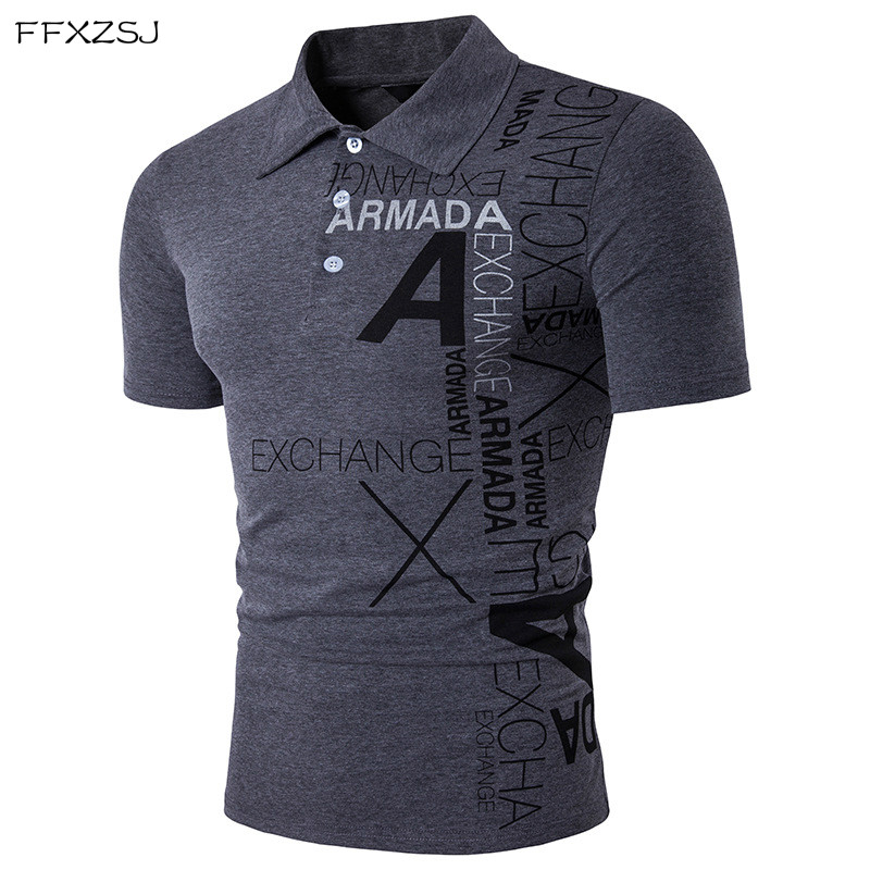 high quality summer fashion men casual personality European and American wind A alphabet printing Lapel short sleeves   polo