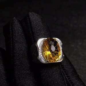 Image 5 - Natural citrine mens ring, beautiful gem from Brazil, 925 sterling silver, precision manufacturing