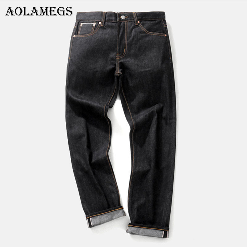 Aolamegs Biker Ripped Jeans For Men Letter Black Pants Mens Selvage Skinny Jeans Brand Baggy Denim Cotton 2017 Trousers Bottoms