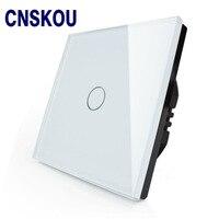CNSKOU EU Standard 1 Gang 1 Way AC220 250V Glass Panel Wifi Control Automatic Light Switch