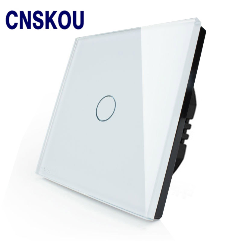 CNSKOU EU Standard 1 Gang 1 Way AC220~250V Glass Panel Wifi Control Automatic Light Switch Timer Turn Off Touch Sensor Switch