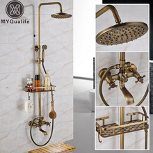 Antique Brass Wall Mounted Bathtub Shower Set Faucet Dual Handle with Commodity Shelf Bathroom Shower Mixers 8″ Rainfall