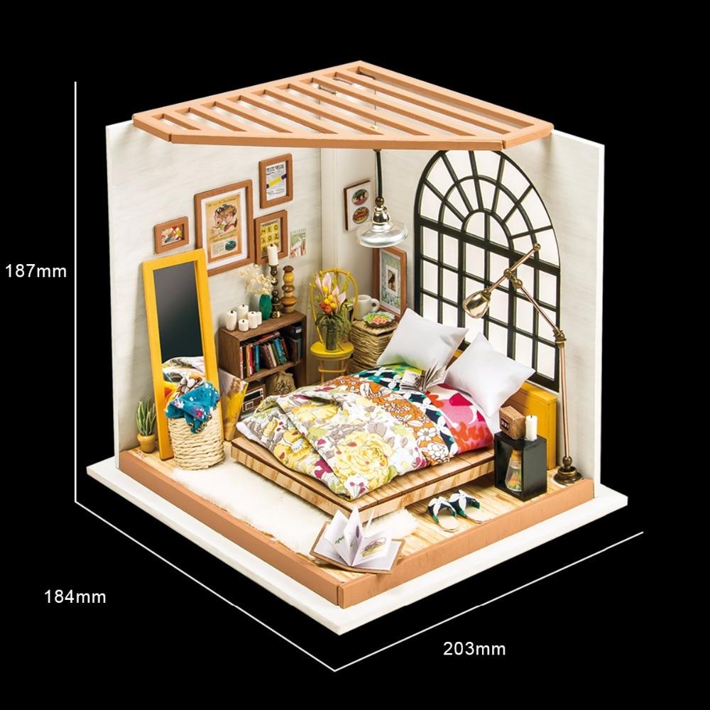 Robotime DIY Doll House Alice Drömmande Sovrum Barn Vuxen Miniatyr - Dockor och tillbehör - Foto 2