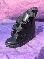 2018 новые черные гладкой кожи Для женщин повседневная обувь без застежки модные кожаные оборками дамы увеличение каблук вулканическая обув