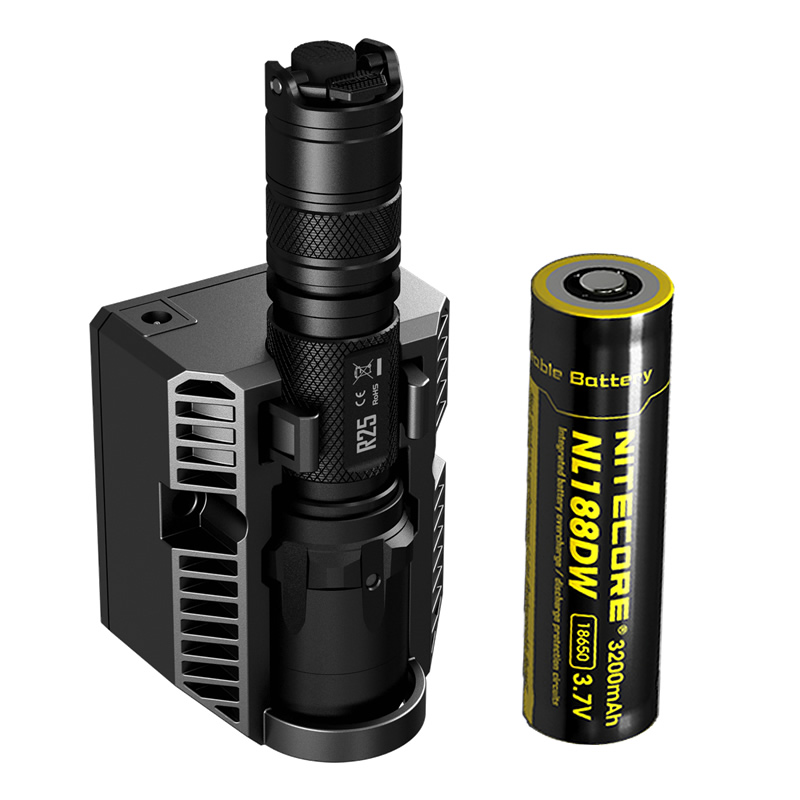 New NITECORE R25 Tactical Flashlight 800LM XP-L HI V3 LED Torch Unmatched Performance Smart Charging Dock + Rechargeable Battery new nitecore 1000lm xp l hi led white light with rechargeable battery gear outdoor search r40 flashlight hand lamp free shipping