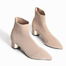 Fashion New Autumn  Ankle Boots Women Pointed Toe Sock Boots Stretch Fabric High Heels Heeled Shoes Woman Spring aa0529