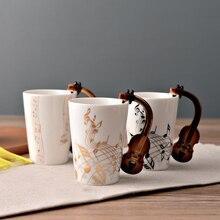 Creative Guitar/Piano/Clarinet/Violin/Saxophone Ceramic Cup Personality Music Note Milk Juice Lemon Mug Coffee Tea Cup Gift