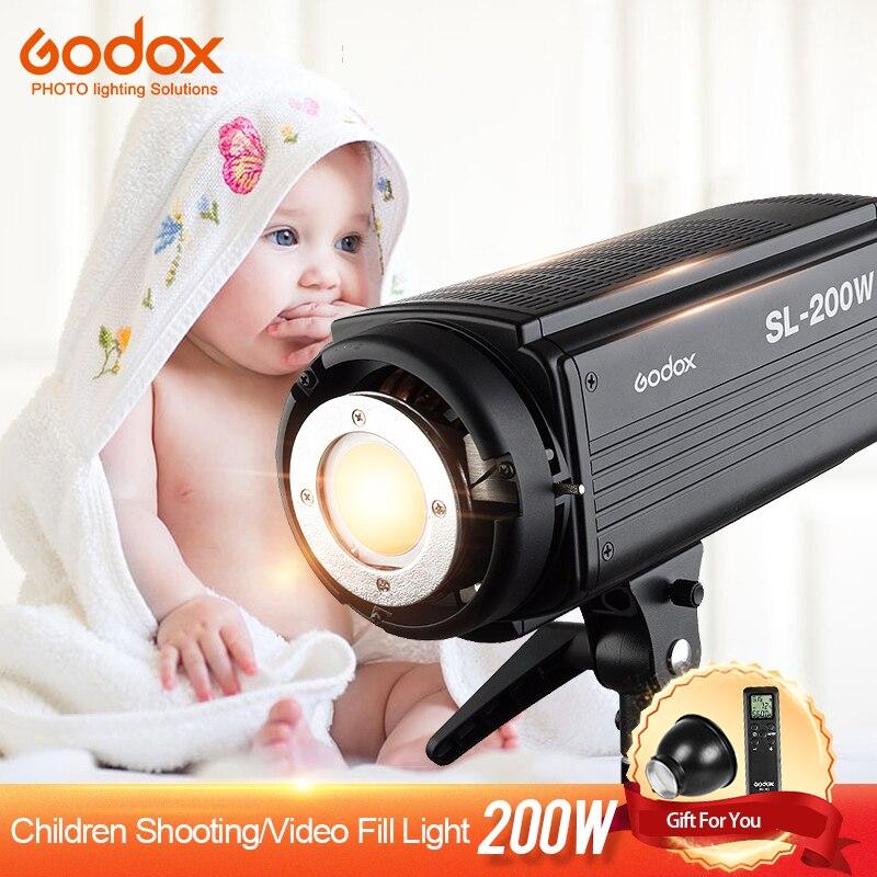Godox SL-200W LED Vidéo Lumière Continue 200WS Sortie 5600 k Blanc Version LCD Panneau Bowens Montage Photographie Studio Éclairage