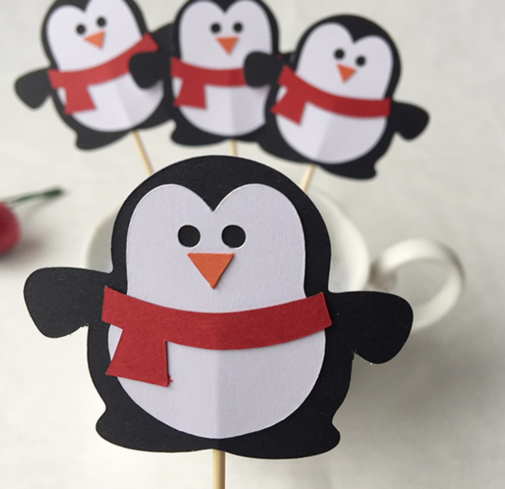 NEW 12PCS Cupcake Toppers Picks Wedding Penguin Shape Party Toppers Picks Birthady Foods Picks Baby Shower