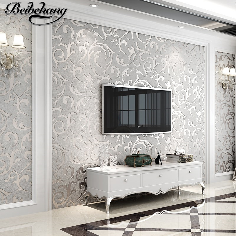 beibehang Modern simple non - woven wallpaper European - style imitation soft flocking wallpaper interior full house backdrop free shipping retro english hepburn postcards simple european style backdrop moisture proof bedroom bathroom wallpaper mural