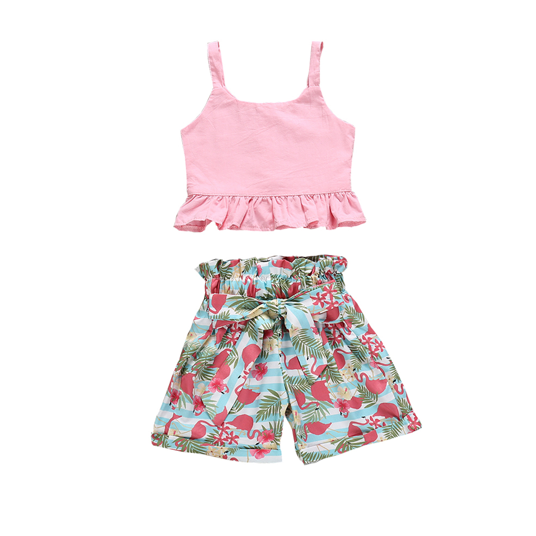 2019 Newest Style Toddler Kid Baby Girl Spring Summer Clothes Strap Solid Tops Flamingo Shorts Outfit Sunsuit Set 2-6years Terrific Value