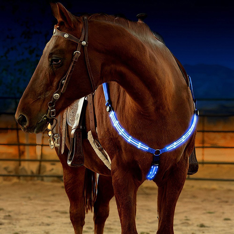 Night Visible LED Horse Riding  Bridle Halter Best Equestrian Horse Safety For Horseback Riding Equestrian Horse Equipment lightweight m l xl ventilated adjustable safety horse racing carving hat equestrian riding helmet for men women climbing protect