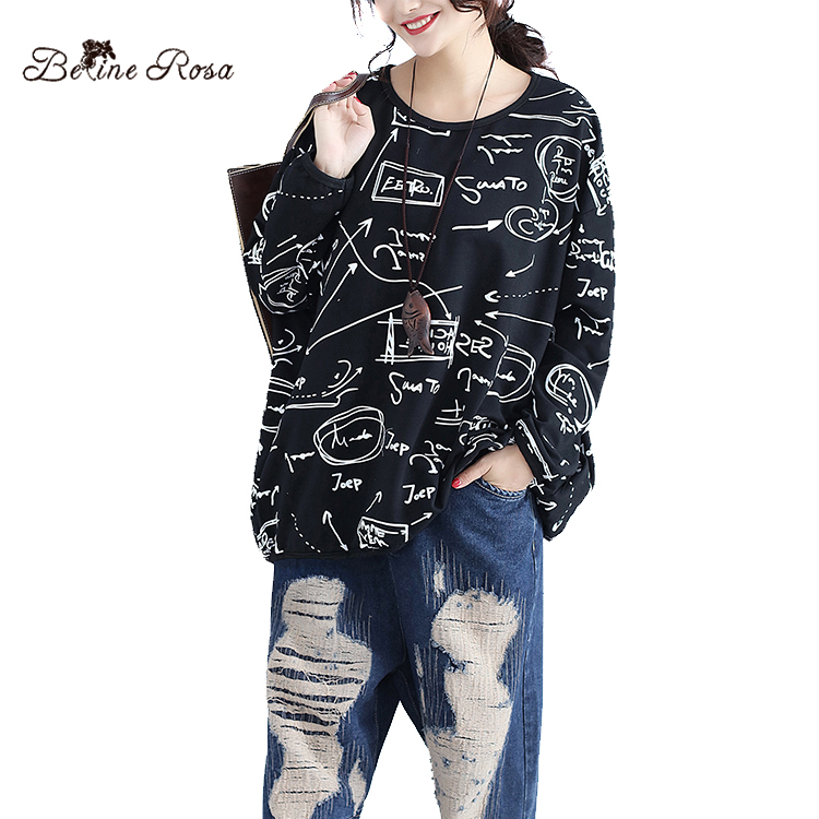 BelineRosa 2019 Women's Tops Hoodies Korean Style Black Graffiti Printing Long Sleeve Autumn Cotton Plus Size Pullovers BSDM0068