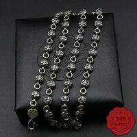 Ожерелье стерлингового серебра 925 Ретро панк хип хоп стиле рок властная круглый свитер с якорями цепь подарков 2018 Новый Лидер продаж