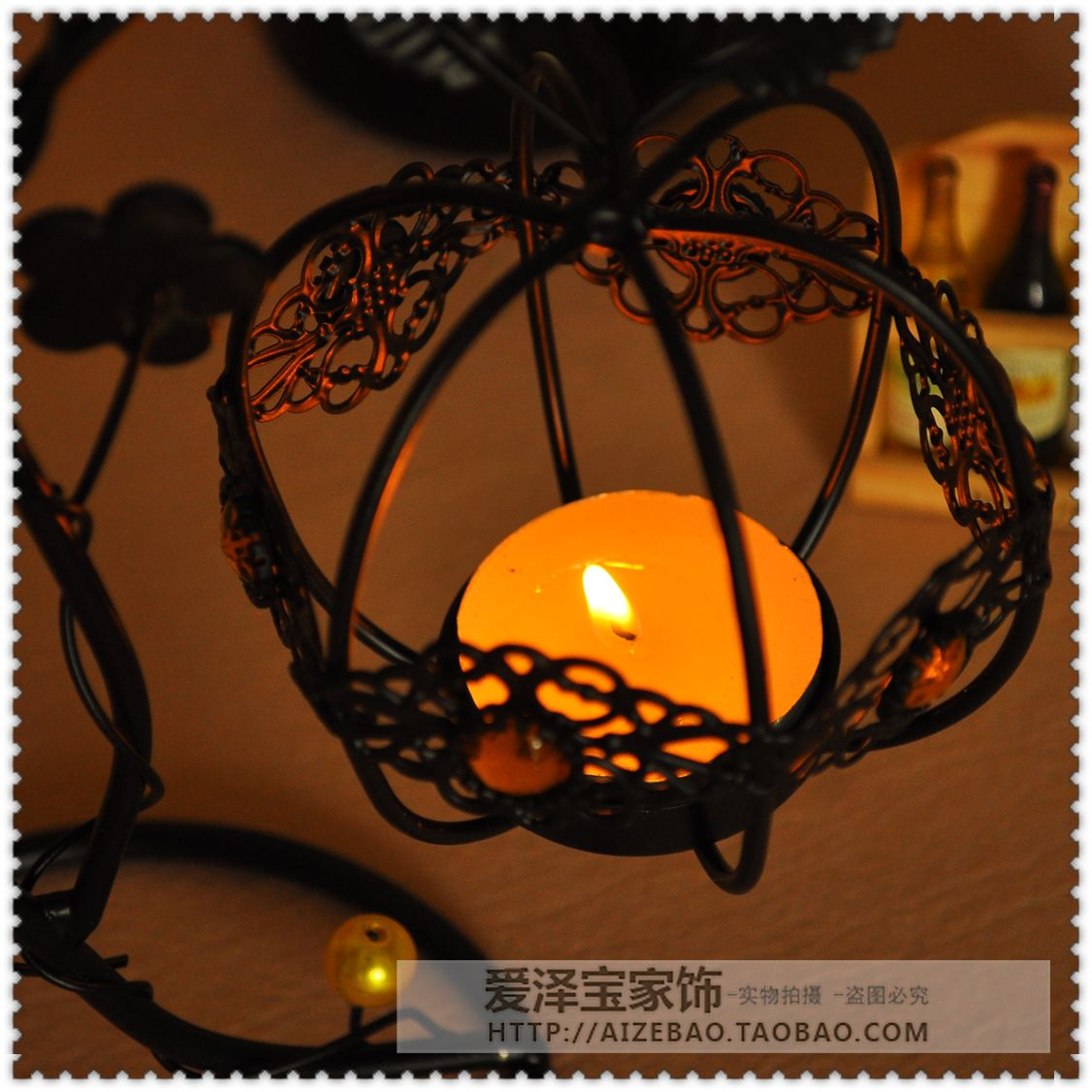Fashion lantern tieyi mousse vintage hanging mousse at both ends new house decoration candle 3