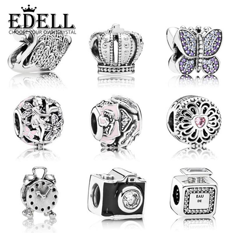EDELL 100% Genuine 925 Sterling Silver Retro Camera Alarm Clock Beads Charm Swan Fit Bracelet DIY Bangle Pendants Gift Jewelry