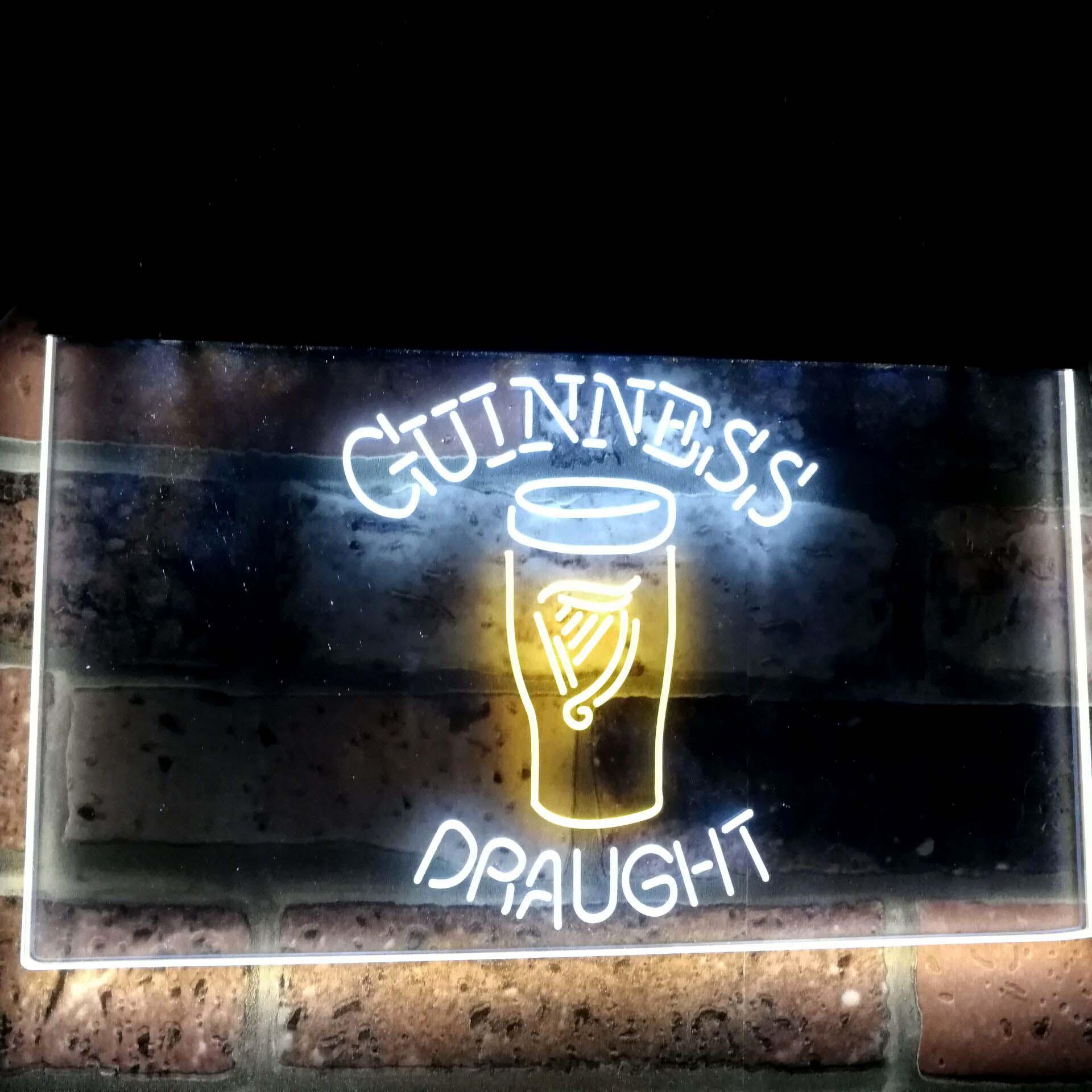 Guinness Draught Bière Bar Décoration Cadeau Double Couleur Led Enseigne Au Néon st6-a2044