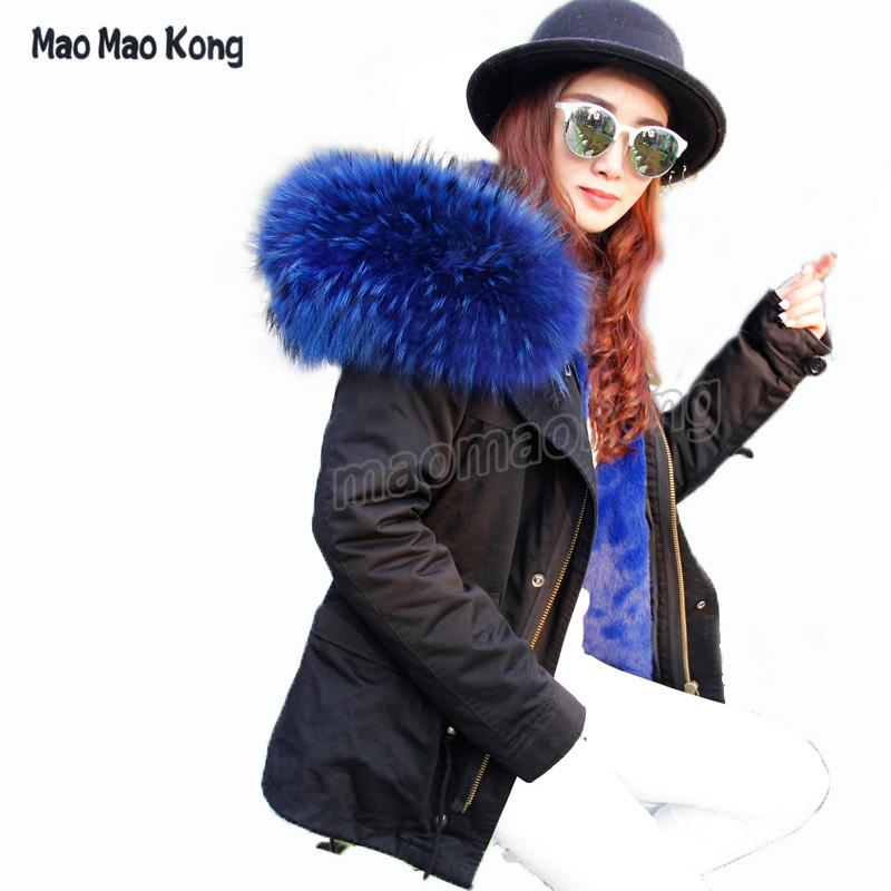 Hot Sales 2016 Army Green Jacket Women Fur Lining For Winter Wite Real Raccoon Fur Hooded Parka DHL EMS Fedex Delivery