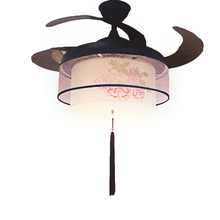 New Arrival 220v / 110v 70W Mute Ceiling Fan Lights 52SW-1045 Gold Peony LED Variable Light Chandelier  + Remote Control