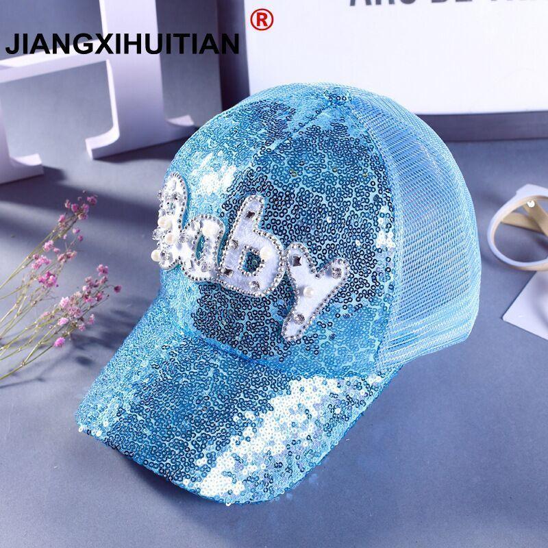 2018 Baby Girls Sequins Baby Letter Snapback   Caps   Mesh   Baseball     Caps   Children Summer Pearls Hip Hop Adjustable Sun Hats Bonnet
