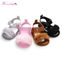 WEIXINBUY Sandals for Newborn Girls Baby Girl Shoes Fashion Faux Fur Skinny Baby Shoes Child Summer Baby Girl Sandals 0 18M