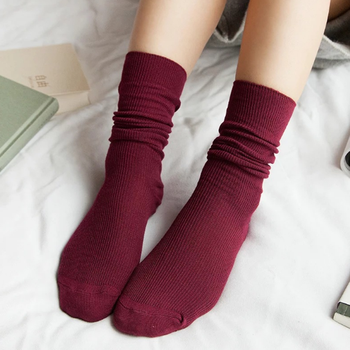 Retro Thin Women Socks Solid Colr Harajuku Cotton Loose Socks Winter In Tube Korean Long Boot Socks Lady Casual image