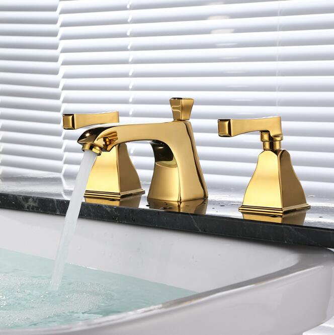 Fashion Bathroom Basin Faucet Deck Mounted bath Mixers Gold laboratory mixer hot and cold widespread three holes sink faucet widespread black bathroom faucet deck mounted waterfall bath sink basin hot and cold water taps dual handle mixers