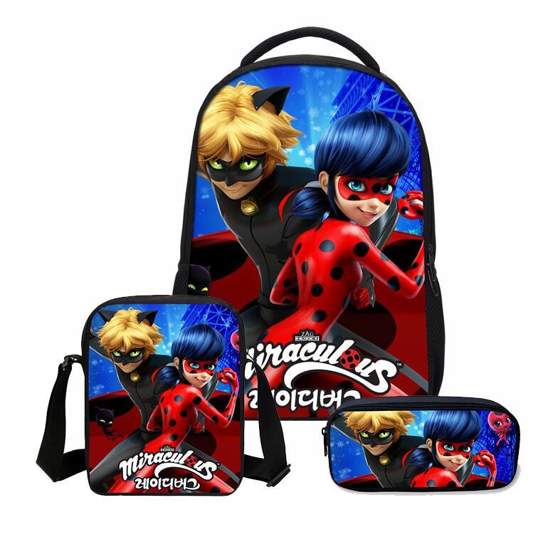 Dropwow 3pcs Set School Bag Miraculous Ladybug Cat Noir Backpack Children  Combination Bookbag Boys Girls School Backpack Daily Mochila 760697aaa3b17
