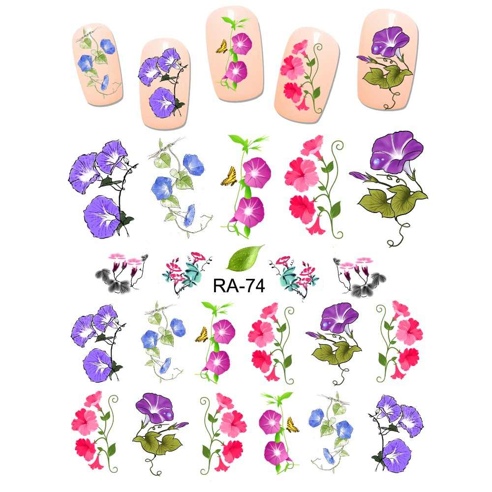 Uprettego Nail Art Beauty Water Stiker Slider Bunga Morning Glory Pharbitis Vine Daun Terompet Bunga RA73-78