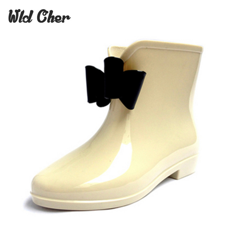 Catching New Bowknot Woman Rain Boots Rubber Shoes Women Boot 2017 Girls multi-color Cas ...