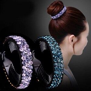 AWAYTR New Meatball Hair Accessories Women Hair Claws Headwear Rhinestone Flower Hairpin Bird Nest Floral Twist Clip 10 Colors