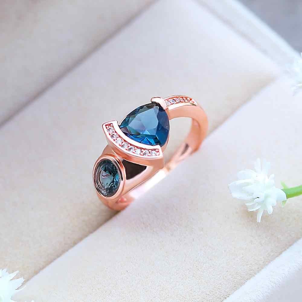 หรูหราคริสตัล Zircon แหวนชายหญิง Rose Gold แหวนแต่งงานสัญญาหมั้นแหวนผู้ชายและผู้หญิง