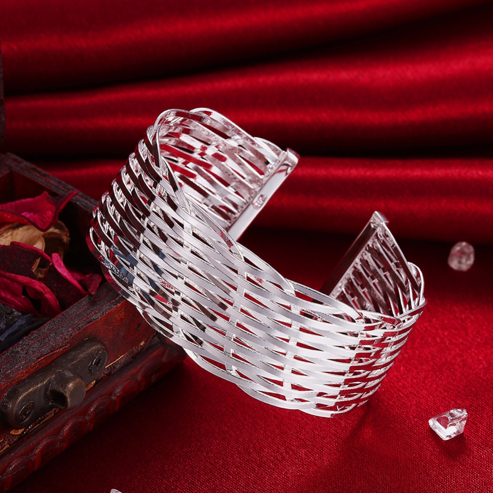 Women categories Opening mesh weave big Bangles silver Plated bangles for Women Jewelry B011.