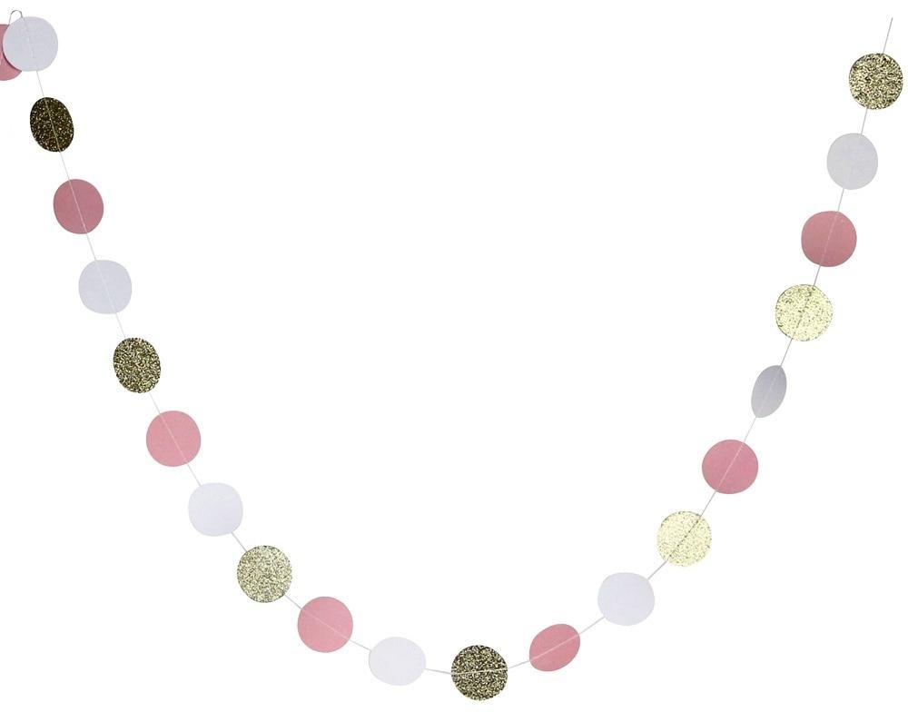 (aukso kampelis, rožinė, balta) 11 Kojų ratas Garlandas Polka - Šventės ir vakarėliai - Nuotrauka 4