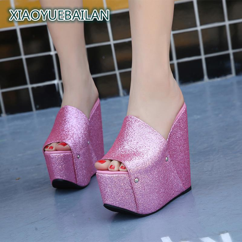 women 2019 spring autumn size ladies 16cm high heels shoes female peep toe bling wedges huarache