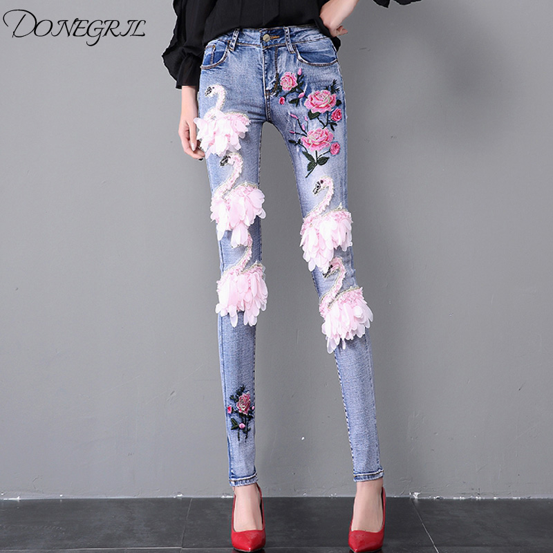 Fashion Spring Summer Women's Swan Embroidery Slim Jeans 2019Tight-fitting Skinny Pencil Pants Students Floral Denim Trousers image